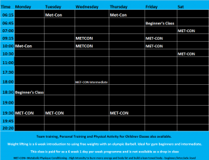 LifeFit Timetable