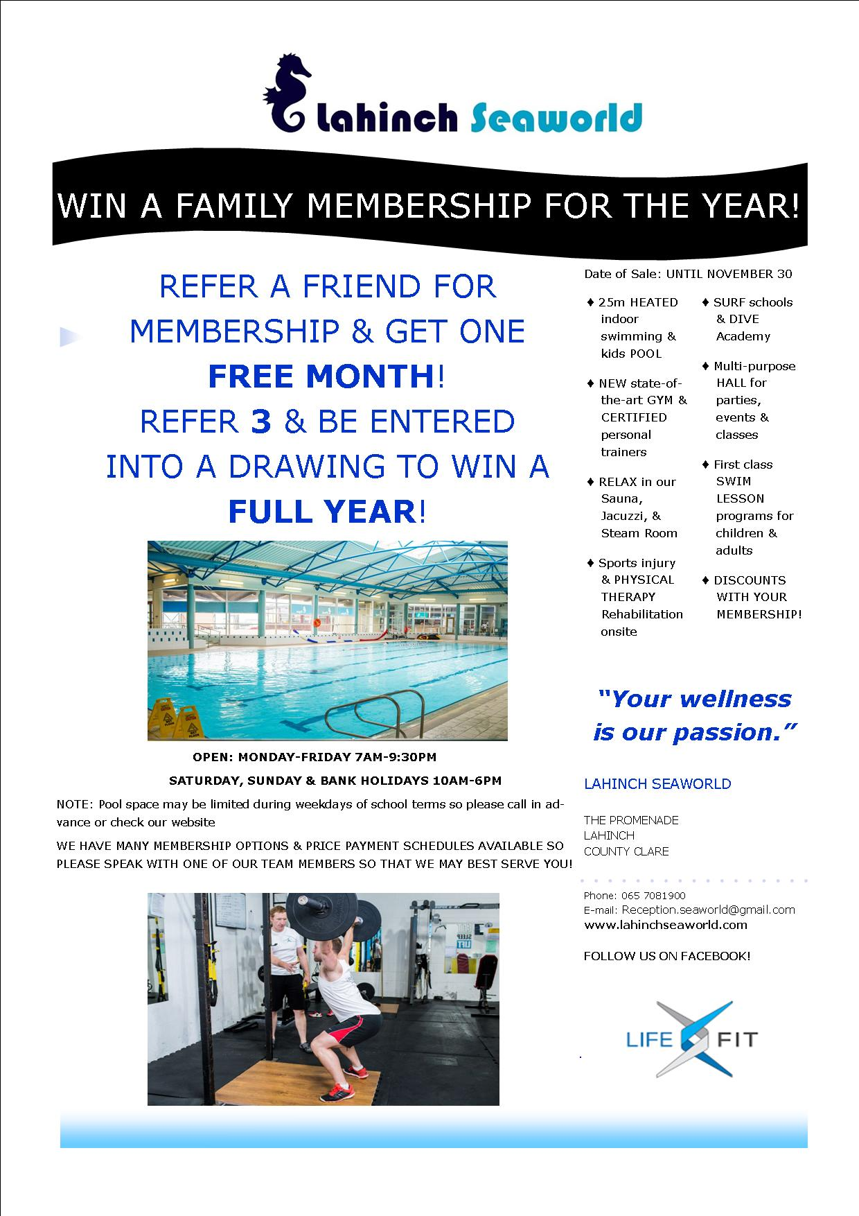 WIN A FAMILY MEMBERSHIP FOR THE YEAR!
