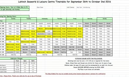 Lahinch Seaworld Pool Timetable 26th September-2nd October