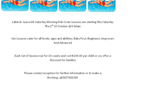 Saturday Morning Kids Swimming Lesson's Starting Saturday the 1st of October 2016