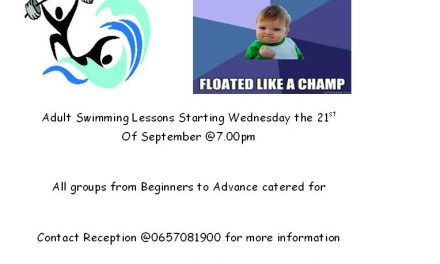 All New Adult Swimming Lessons Starting The 21st Of September