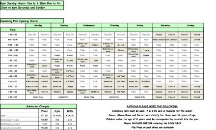 Pool Timetable 16th-22nd January