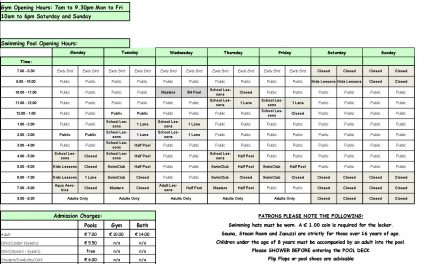 Pool Timetable 23rd-29th January