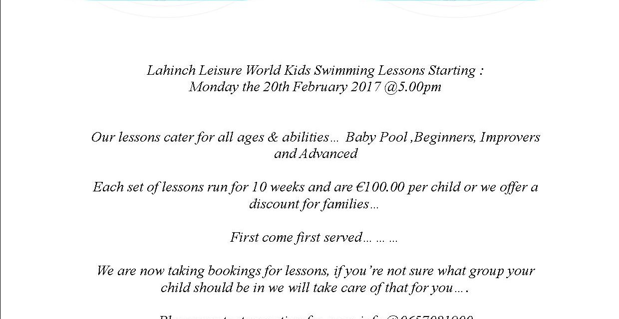 Monday Kids Lessons starting the 20th of February