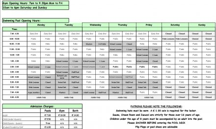 Pool Timetable 13th-19th February