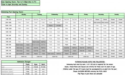 Pool Timetable 20th-26th February