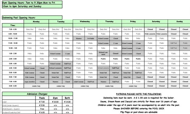 Pool Timetable 27th February-5th March