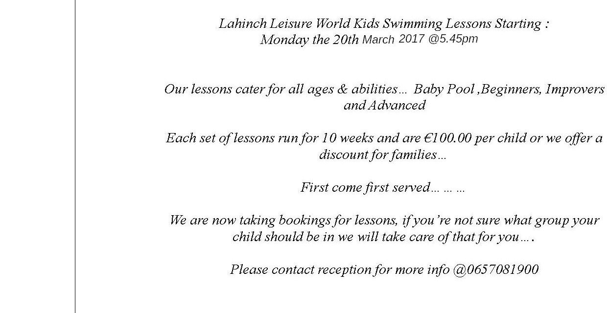 New Set of Monday Kids Swimming Lessons