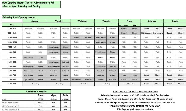 Pool Timetable 13th-19th March