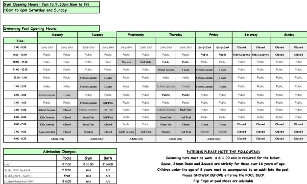 Pool Timetable 20th-26th March