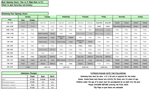 Pool Timetable 1st-7th May