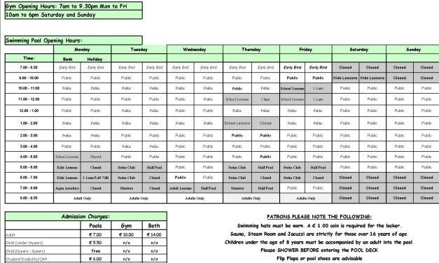 Pool Timetable 24th-30th April