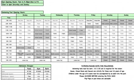 Pool Timetable 15th-21st May