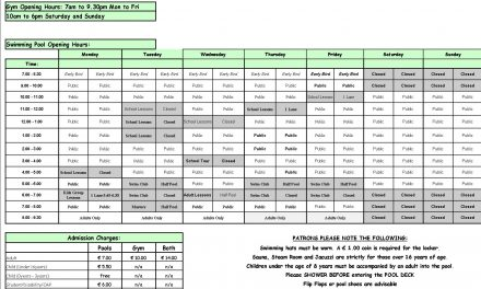 Pool Timetable 22nd-28th May