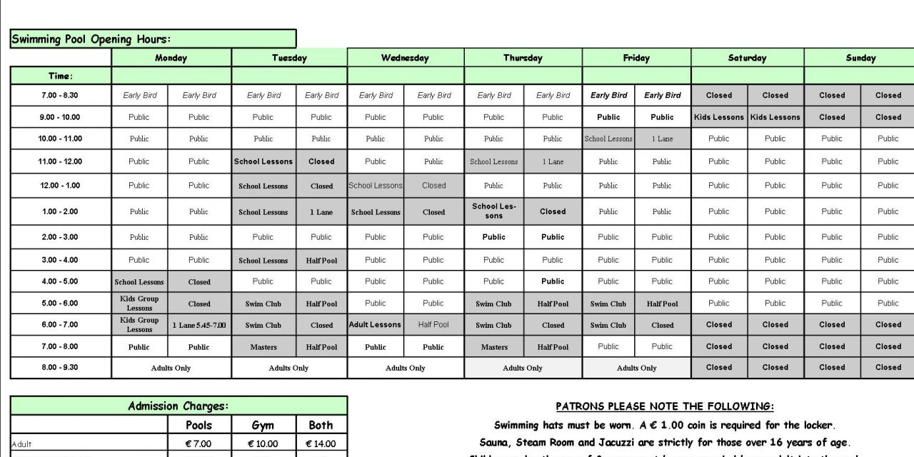 Pool Timetable 8th-14th May